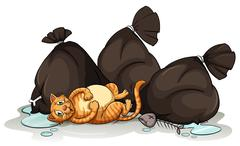Stock Illustration of A cat beside the trashbags