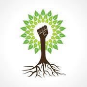 Unity hand make tree - vector illustration - stock illustration