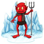 Freezing man with a fork Stock Illustration