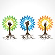 Unity,victory and helping hand make tree - vector illustration Stock Illustration