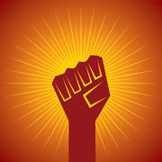 clenched fist held in protest concept  vector illustration - stock illustration