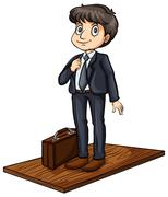 Man above the board - stock illustration