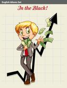 A boy in the black - stock illustration