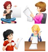 Four busy females - stock illustration