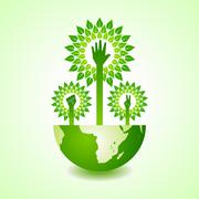 Unity ,victory and helping hand make tree on earth - vector illustration - stock illustration
