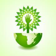 Helping hand make tree on earth - vector illustration - stock illustration
