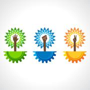 Unity ,victory and helping hand make tree on gear- vector illustration Stock Illustration