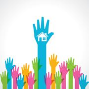 Colorful helping hand with home icon stock vector - stock illustration