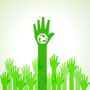 Green helping hand with recycle icon stock vector - stock illustration