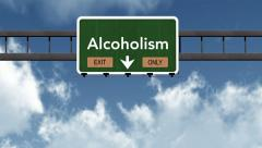 Stock Video Footage of 4K Passing Alcoholism Exit Only Highway Sign with Matte 2 stylized