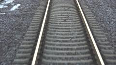 ULTRA HD 4K POV Point of view closeup train railway rail line track rock change  Stock Footage