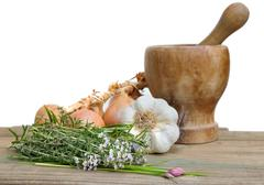 Aromatic plants, onions and garlic Stock Photos
