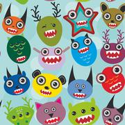 Cute cartoon muzzle Monsters seamless pattern on blue background. Vector - stock illustration