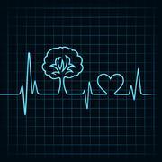 heartbeat make a tree and heart symbol stock vector - stock illustration