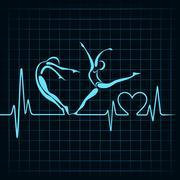 heartbeat make a yoga girl and heart symbol stock vector - stock illustration