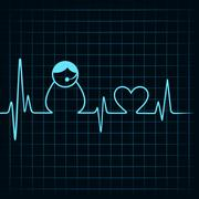 Heartbeat make a contact us icon and heart symbol stock vector Stock Illustration