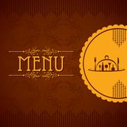 template for menu card with cutlery stock vector - stock illustration