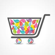 shopping cart with group of colorful leaf stock vector - stock illustration