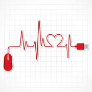 heartbeat with mouse and laptop stock vector - stock illustration
