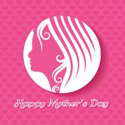 Mothers day greeting with female face and hand stock vector - stock illustration