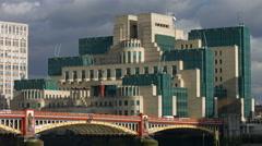 Vauxhall Bridge London 4K pan to St George Wharf buildings Stock Footage