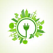 Ecology concept with electric plug illustration - stock illustration