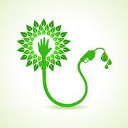 Bio fuel concept with petrol pump machine - stock illustration