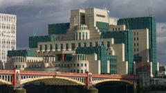 Vauxhall Bridge London 4K static of MI6 building Stock Footage