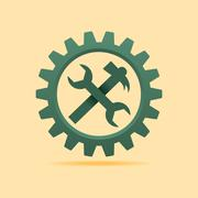 Tools icon inside the cog wheel stock vector - stock illustration