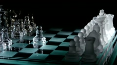 4K. Beautiful pieces on the chessboard. black background - stock footage