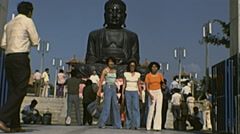 Changhua, Taiwan 1977: people making pictures at the Great Buddha statue Stock Footage