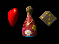 Valentine heart, Ludo piece and dice seamless loop video with alpha, 640x480 Stock Footage