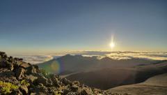 Rising Sun, Haleakala National Park mountain range summit Arkistovideo