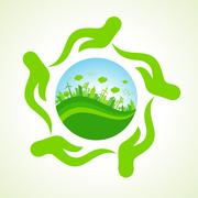 Eco- city or save nature concept vector Stock Illustration
