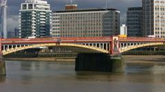 Vauxhall Bridge London 4K pan along bridge Stock Footage