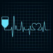 Blood donation concept with heartbeat - stock illustration
