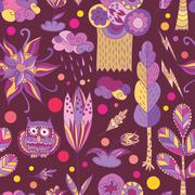 Purple spring vector pattern with forest Stock Illustration