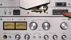 Control panel of old reel tape recorder Stock Footage
