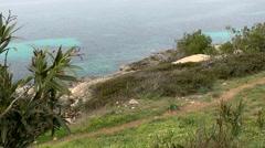Spain Mallorca Island Cala Blava 016 above the steep coast of the bay Stock Footage