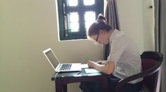 Examination at online school - stock footage