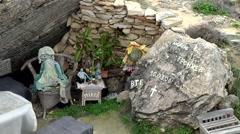 Spain Mallorca Island Cala Blava 012 gravestone of a cave-dwelling human Stock Footage