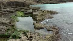 Spain Mallorca Island Cala Blava 004 shallow water over rocky shore with algae Stock Footage
