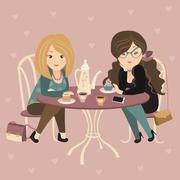 Two fashion girls chatting at a cafe Stock Illustration