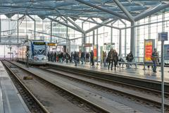 THE HAGUE, THE NETHERLANDS - FEB 03: Unknown people traveling with the tram o - stock photo