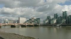 Vauxhall Bridge London 4K pan to St George's Wharf WS Stock Footage