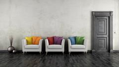 Vintage room with colorful armchair Stock Illustration