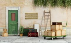 Move from an old house - stock illustration