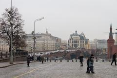 View of the site of the murder of politician Boris Nemtsov Stock Photos