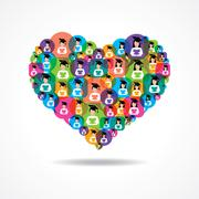 Group of male and female icons make a heart stock vector - stock illustration
