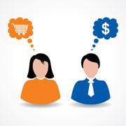 Male and female thinks about shopping and money stock vector - stock illustration